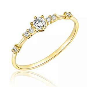 Dainty Gold Plated White Sapphire Ring